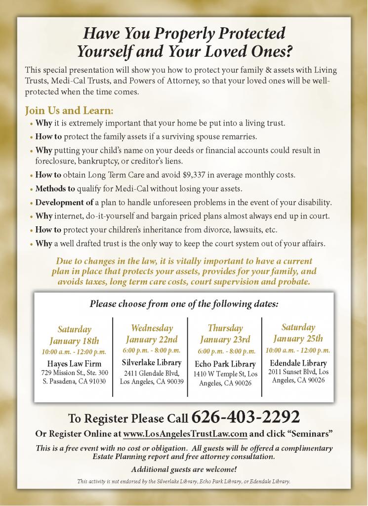 Hayes Law Firm - January 2020 Estate Planning Seminar Sweep - Silverlake, Echo Park, South Pasadena, Los Angeles, CA